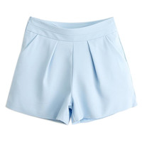ROWME Elastic Pleated Sheer Blue Shorts