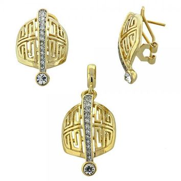 Gold Layered 10.59.0128 Earring and Pendant Adult Set, Greek Key Design, with  Crystal, Golden Tone