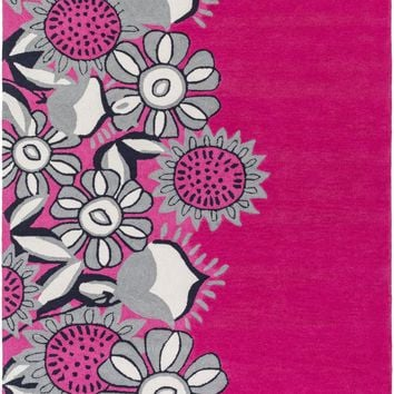 Skidaddle Floral and Paisley Area Rug Pink, Gray