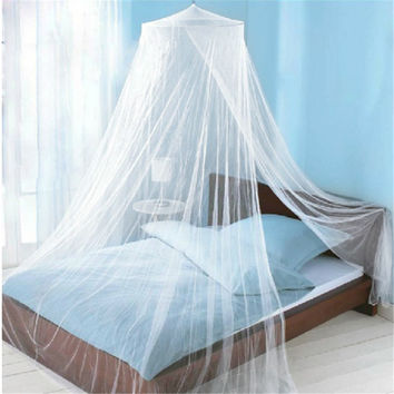 2017 Summer Style Romantic Round Lace Curtain Dome Bed Canopy Netting Princess Mosquito Net White Pink Brand New High Quality