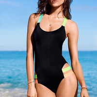 Color Ribbon One Piece Swimsuit