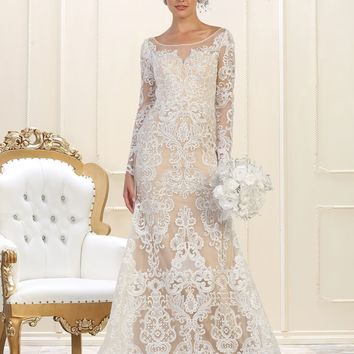 Long Sleeve Full Lace Formal Wedding Dress
