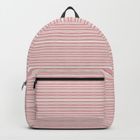Decorative Pink White Fine Lines Design Backpacks by Sheila Wenzel