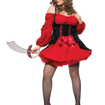 Plus Size Vixen Pirate Wench Costume (1X-2X,Red/Black)