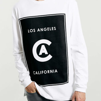 WHITE CALIFORNIA LONG LENGTH LONGSLEEVE T-SHIRT - New In- TOPMAN USA