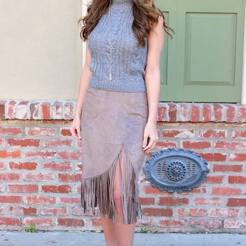 Fringe Suede Pencil Skirt