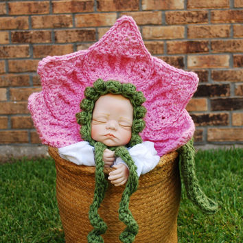 Crochet flower bonnet with leaf cape , baby girl hat, cuddle cape , Newborn Photography Prop