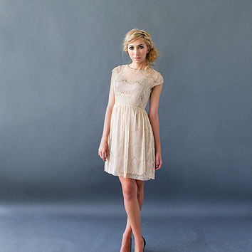 PIROUETTE BRONZE - Taupe tan lace overlay dress / bronze satin slip / cap sleeves / sweetheart / illusion neckline / bridesmaid / cocktail