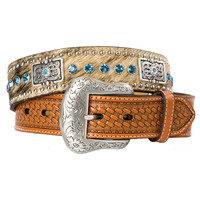 Nocona Men's 1-1/2 Natural Basket Stamp Belt