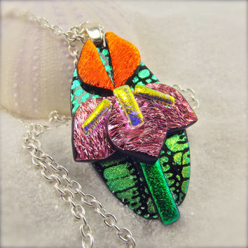 Iris flower jewelry, iris necklace, iris pendant, dichroic pendant, handcrafted, unique, flower jewelry, wedding gift, bridesmaid gift, ooak