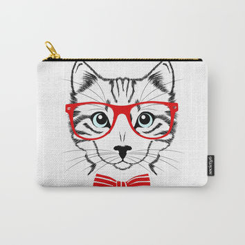 Hipster Cat with Red Glasses Carry-All Pouch by Smyrna