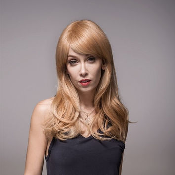 8 Colors 59cm Remy Mono Human Blonde Hair Wig Side Bang Virgin Top Capless