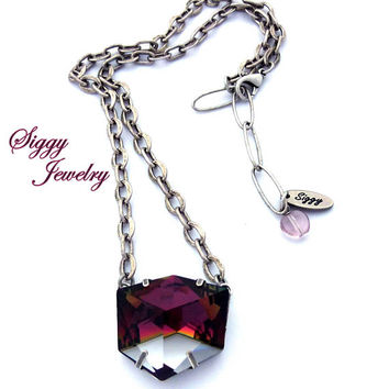 Swarovski Crystal Mega Sized Statement Pendant, Clear Or Red Copper, Large Geometric Tilted Dice, Unique, Antique Silver, Gift Packaged