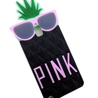 Mingfung 3D Fruit pineapple Black Glasses Design Skin Silicone Case Cover for Samsung Galaxy S5 SV I9600 Black