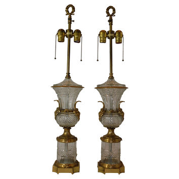 Cut-Crystal & Ormolu Urn Lamps, Pair