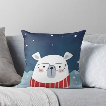 'Bespectacled Polar Bear' Throw Pillow by ketrena