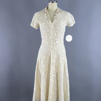 Vintage 1930s Ivory Lace bias Cut Dress with Rhinestone Flowers