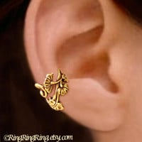 Art Nouveau flower ear cuff gold brass earring jewelry - Right earcuff, No piercing needed 080512