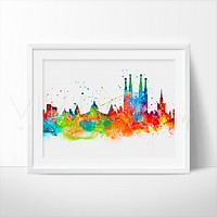 Barcelona Skyline Watercolor Art Print