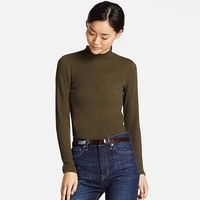 WOMEN RIBBED HIGH NECK LONG SLEEVE T | UNIQLO