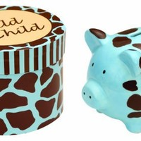 Manual Woodworkers Wild Child Ceramic Piggy Bank in a Gift Box, Blue, 4 X 4 X 3.25""
