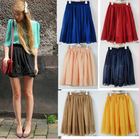 Womens Retro High Waist Pleated Double Layer Chiffon Short Mini Skirts Dress Hot