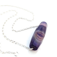 Agate Pendant, Purple, Silver Chain, Faceted Agate Necklace