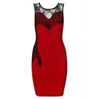 POSH GIRL Red Bandage And Lace Cocktail Dress
