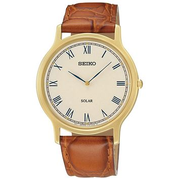 Seiko Solar Mens Watch - Gold-Tone Case - Off White Dial - Brown Leather Strap