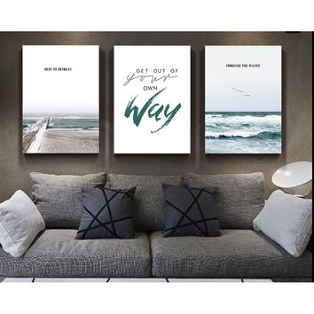 3pcs/set Sea Landscape Scenery Painting Life Quotes Poster Print Nordic Style Living Room Wall Art Picture Home Decor Canvas Pai