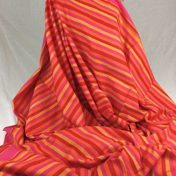 Kikoy Woven Cotton Fabric--Kenyan Fabric--Made in Kenya--Striped Hot Pink, Orange, and Yellow--African Fabric by the HALF YARD