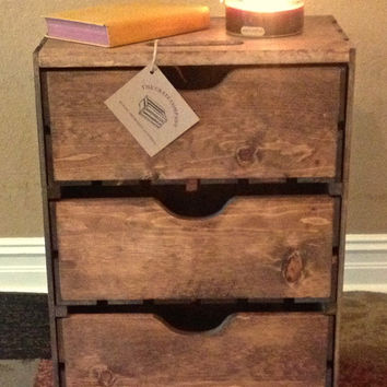 "Extra Large Three Drawer Wood Storage Crate -  24""T x 18""W x 11 1/2""D - Stacking Crates - Pullout Crates - Decorative Crate - Apple Crate"