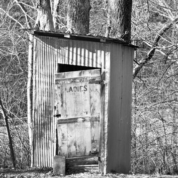 Outhouse Photo, Black and White,  Primitive Decor, Rustic Decor, Country Home, Old Outhouse, Farmhouse Decor, Ladies, Hatfield,  Bathroom