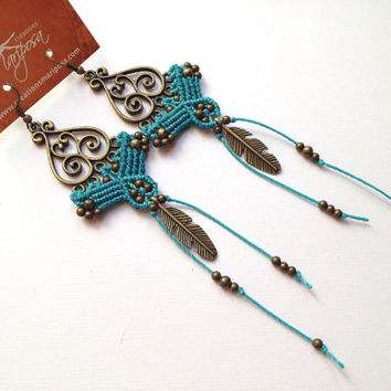 Hippie-chic elvin turquoise handwoven earrings feather charm long pendants boho bohemian macrame gypsy woodland elven