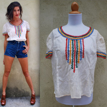 Vintage 60s 70s Rainbow Rick Rack Peasant Top by littlelightVTG
