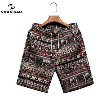 Men's beach shorts personality printing  summer thin section breathable comfort casual men's linen shorts large size M-5XL