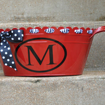 Beverage Tub/ Drink Tub/ Personalized/ Beverage Bucket/ Assorted Colors/ Initial/ Red/ Monogram