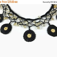 SALE 20% Black And Yellow Beaded  Crochet Motif  Necklace - Beadwork Statement Necklace - boho Chic Black Bib Necklace - gift for Mom