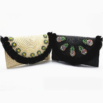 2017 high quality beach bag straw clutch messenger bag envelope bag women lady day tassels pineapple summer crossbody bags