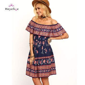 Sexy Off-Shoulder Holiday Beach Tunic Over Knees Summer Dresses Bikini Women Cover-Up Printing New Swimwear Cover Up Beach Dress