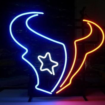 NEON SIGN board For HOUSTON TEXANS NFL FOOTBALL FOOTBALL GLASS Tube BEER BAR PUB Club Shop Light Signs 17*14""