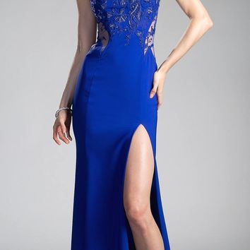 Royal Blue Long Prom Dress with Sheer Illusion Cut Outs