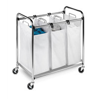 3-Section Laundry Sorter, Chrome, Laundry Hampers