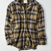 AEO Oversized Destroyed Flannel Shirt, Green