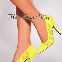 Neon Yellow Perforated Point Toe High Heel Pumps