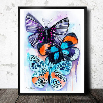 Butterflies 2 watercolor painting print, animal, illustration, animal watercolor, animals paintings, animals, portrait, Butterfly