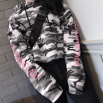 DCCKH3L Women Personality Fashion Letter Camouflage Print Loose Hooded Long Sleeve Pullover Sweater Crop Tops Sweatshirt