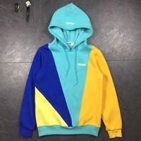 PALACE Fashion Casual Woman Men Fashion Hoodie Top Sweater Pullover Light Blue+Yellow G