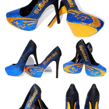 Subaru Rally Heels: Black/Blue Ombre Glitter with Gold Swarovski Crystals