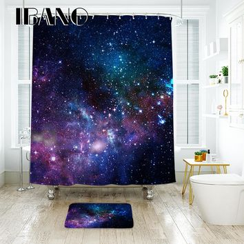 IBANO Starry Sky Shower Curtain Waterproof Polyester Fabric Bath Curtain For The Bathroom Decoration With 12pcs Plastic Hooks